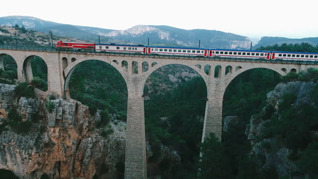The Train Going Over The Big German Railway Viaduct in Adana, Turkey - 4K Drone Video