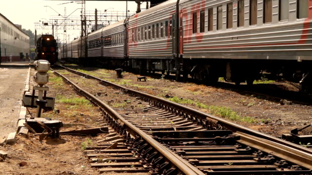 The train moving in front of the the camera / Russia. Russia video