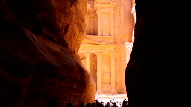 The Treasury of Petra ancient city, Jordan The Treasury of Petra ancient city, Jordan east stock videos & royalty-free footage