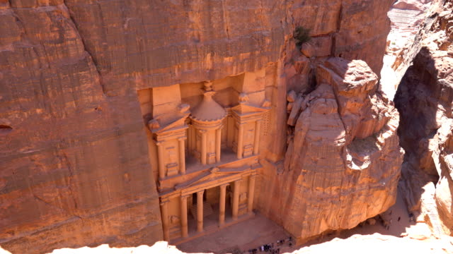 The Treasury of Petra ancient city, Jordan The Treasury of Petra ancient city, Jordan sandstone stock videos & royalty-free footage