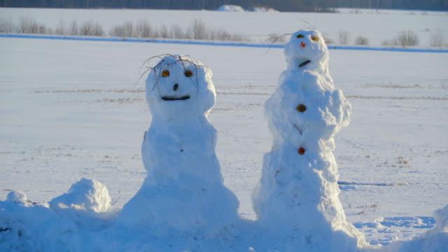vídeos y material grabado en eventos de stock de the feo cara de muñeco de nieve en el camino lateral - snowman