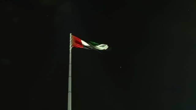 geceleri sallayarak birleşik arap emirlikleri bayrağı - uae flag stok videoları ve detay görüntü çekimi