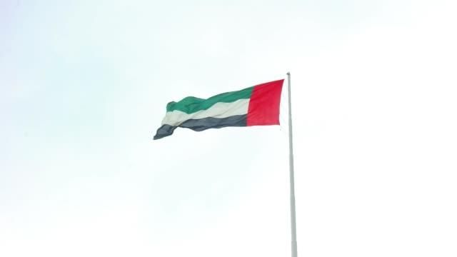 abu dabi şehir berrak gökyüzü karşı sallayarak birleşik arap emirlikleri bayrağı - uae flag stok videoları ve detay görüntü çekimi