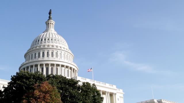 the united states capitol, congress in washington dc - kubbe stok videoları ve detay görüntü çekimi