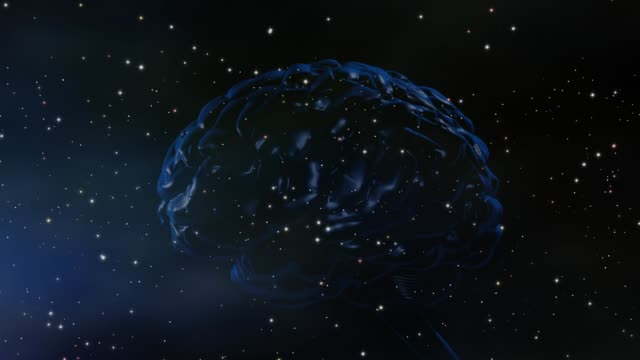 The universe of the mind, genius, intelligent design Brain on background of stars and space, conceptual for mind, genius, intelligent design cerebellum stock videos & royalty-free footage