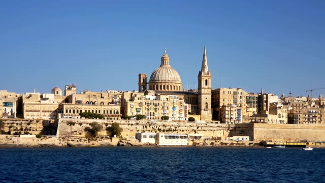 The Valletta skyline with Basilica of Our Lady of Mount Carmel as seen from Sliema. Malta video