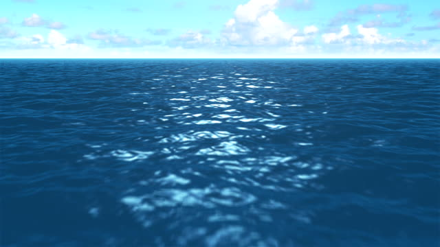 zdecydowana blue sea w tętniącym życiem światło słoneczne z wypukłym chmury na niebie. - ekoturystyka filmów i materiałów b-roll