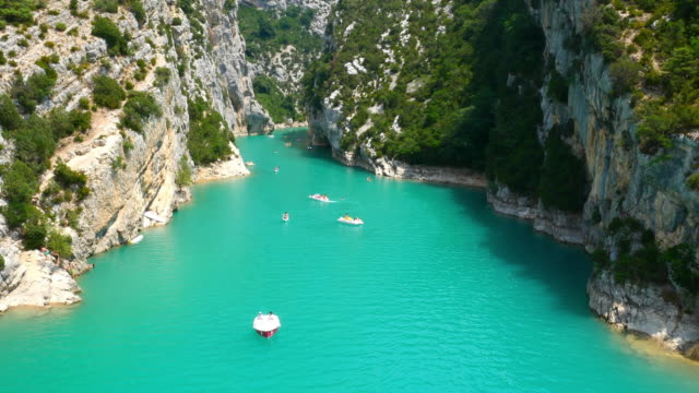 The Verdon Gorge near Moustiers-Sainte-Marie in the Verdon Regional Natural Park in the Alpes-de-Haute-Provence in France as seen from the Gatelas Bridge