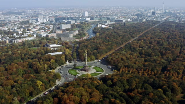 The Victory Column is a monument in Berlin Germany aerial view