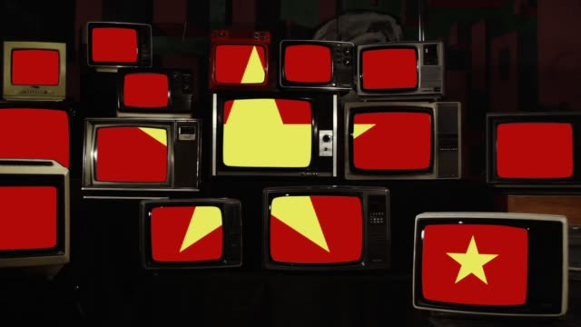 The Vietnam flag and Retro Televisions.
