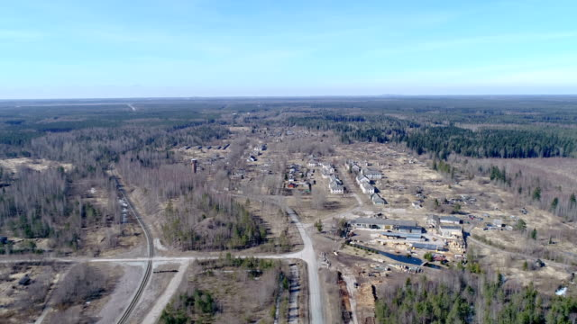 The view from aerial of the ruined property video