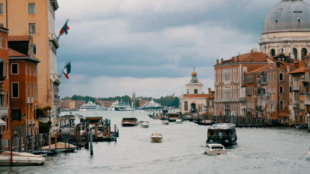 The View of the famous Grand Canal in Venice and in the background Cathedral of Santa Maria della Salute video