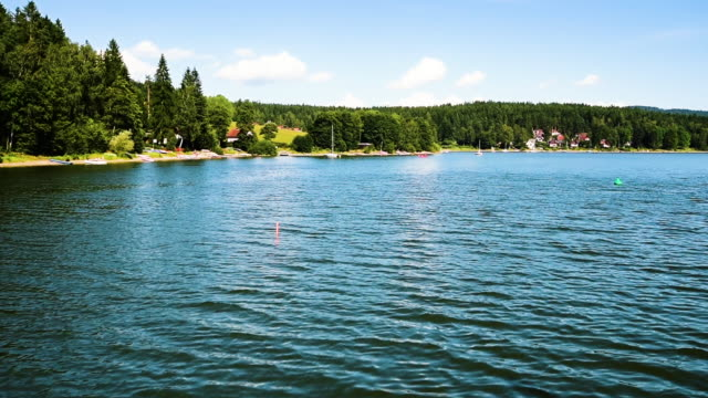 the view of the lipno lake from fast ship while sailing near to the coastline - lakes stock videos and b-roll footage