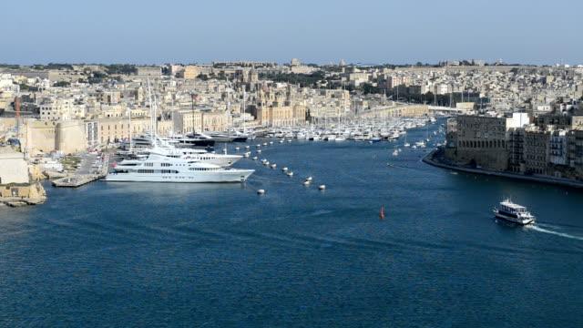 The view on Birgu and  yacht marina, Birgu, Malta video