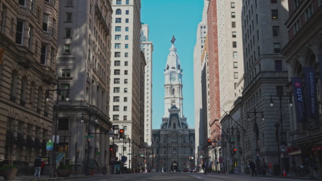 The view on Philadelphia City Hall from South Broad Street. Static camera.