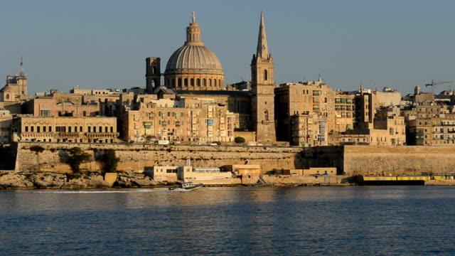 The view on Valletta in sunset, Sliema, Malta video