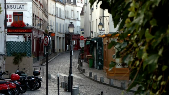 the village of montmartre, paris - french architecture stock videos & royalty-free footage