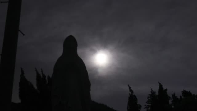 The Virgin Mary at Cemetery with the moon in silhouette scene video