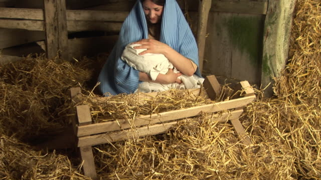 The Virgin Mary with baby Jesus in Stable (Christmas Story) video