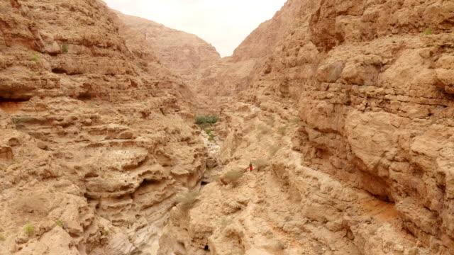 aerial the wadi shab in oman - oman video stock e b–roll