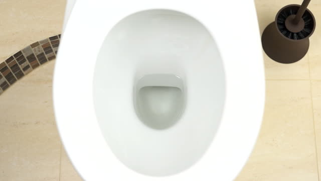 The water is discharged into the toilet bowl video