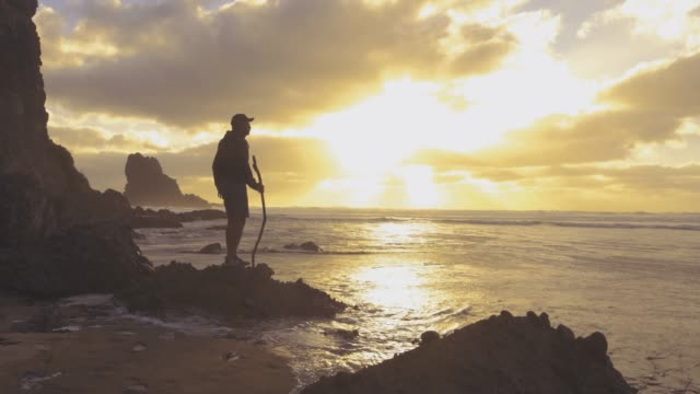 The Way Forward. Young man enjoying sunset at beach. oceania stock videos & royalty-free footage