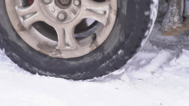 the wheel is slipping in the snow video