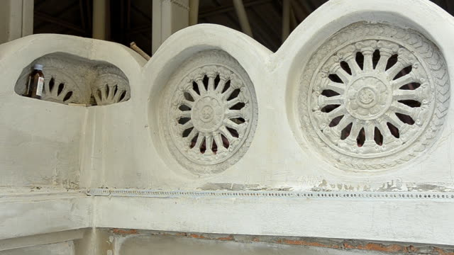 the Wheel of the Law is decorated as wall on the temple video