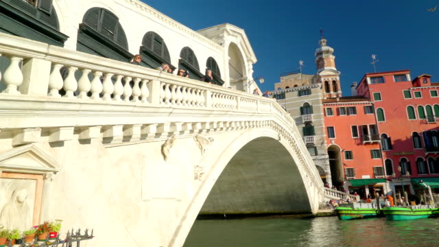The white bridge on the center of the canal in Venice Italy video