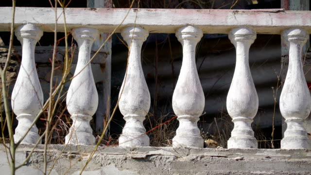 The white cement railings of the house in ukraine video