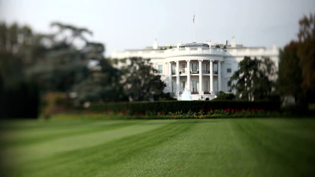 stockvideo's en b-roll-footage met the white house (tilt shift lens) - white house