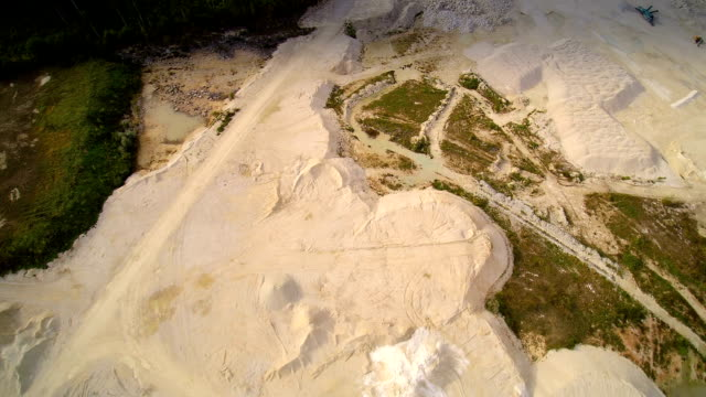 The white powdered quarry area of limestones video