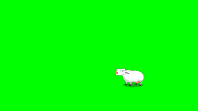 The white sheep jumping from right to left on the green screen.