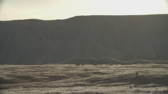 風はコロラド西部の草原、山岳、高い砂漠の風景を横切って塵を吹きます - 乾燥点の映像素材/bロール