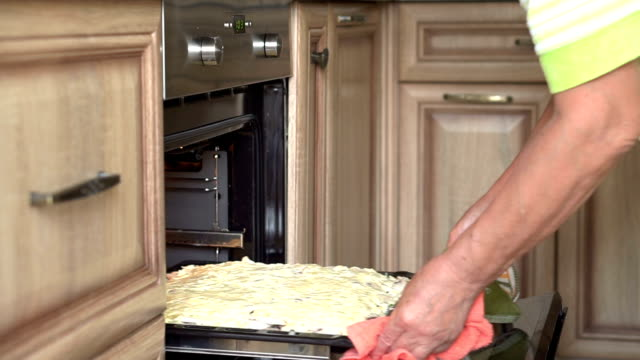 the woman is placed in the oven pan with pie. hands close up - pizza stock videos and b-roll footage