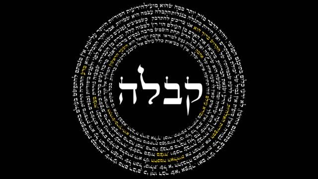 das wort kabbalah umgeben von hebräischen worte der weisheit - tora stock-videos und b-roll-filmmaterial