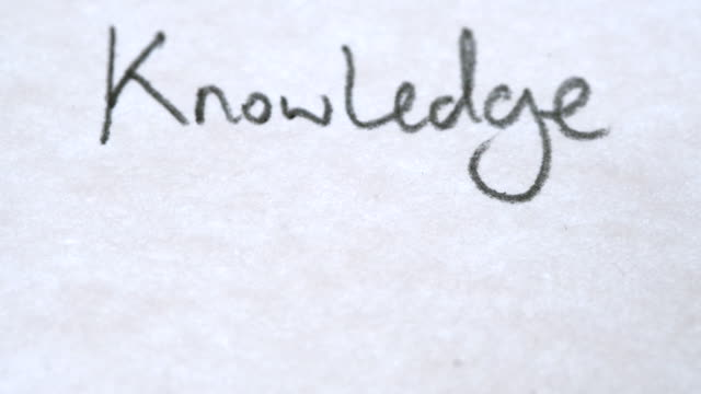 The word 'Knowledge written on a notepad video