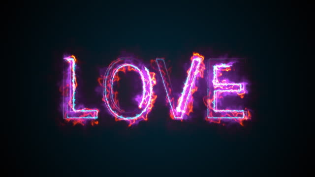 The word Love, computer generated. Burning inscription. Capital letters. 3d rendering welcome background