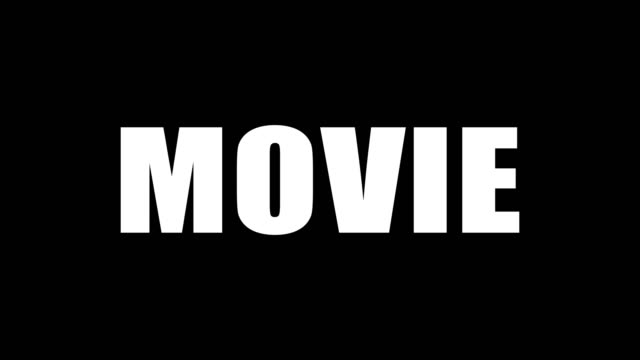 The word movie written in white letters on a black background. The word book written in black letters on a white background. Motion graphics.