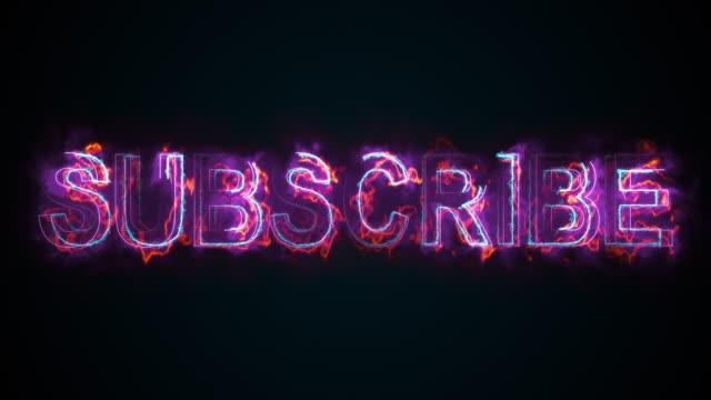 the word subscribe on a screen on the internet. burning inscription. 3d rendering text. computer generated web background - newsletter video stock e b–roll