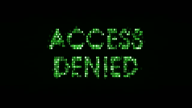 """vídeos de stock e filmes b-roll de the words """"access denied"""" consisting of binary code, the result of the operation access control system - going inside eye"""