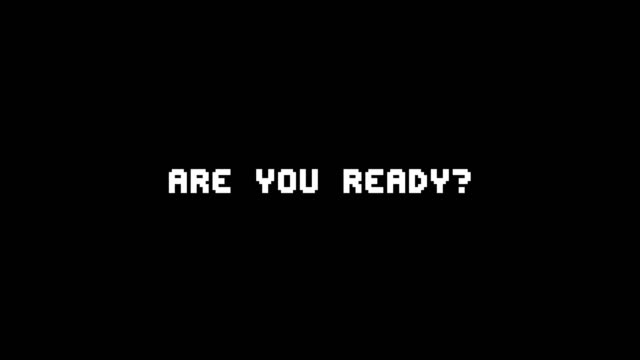 the words are you ready? appearing with digital noise and glitches. nin 8-bit style. - настороженность стоковые видео и кадры b-roll