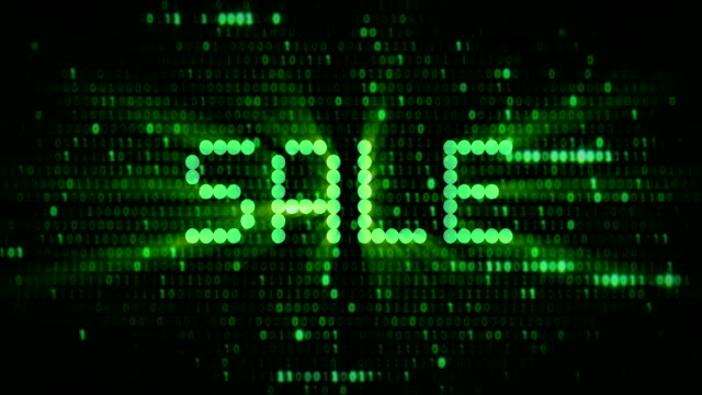 the words cyber monday sale, are you ready question, appearing with digital dot green matrix font, and green numeric bits background with alpha channel, shopping technology - cyber monday стоковые видео и кадры b-roll
