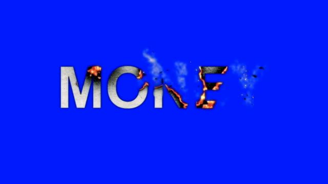 ord pengarna bränner i lågor till aska på en blå skärmbakgrund - saknad känsla bildbanksvideor och videomaterial från bakom kulisserna