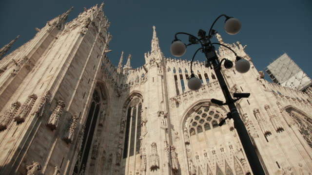 The World-Famous Duomo In Milan, Italy, Lombardy. Close-Up View From Below