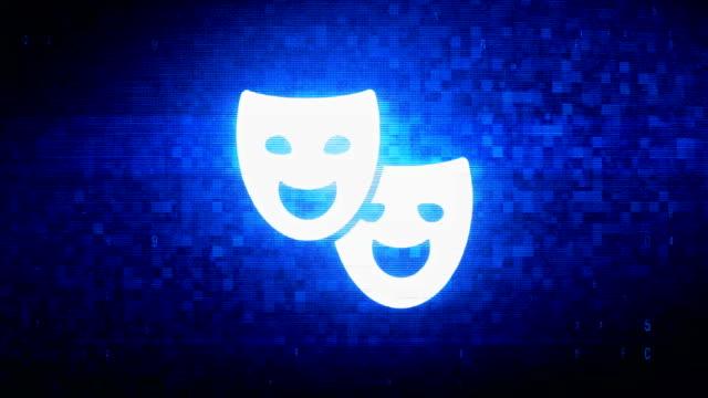 theater Drama mask Symbol Digital Pixel Noise Error Animation. theater Drama mask  Symbol Abstract Digital Pixel Noise Glitch Error Video Damage Signal Loop 4K Animation actor stock videos & royalty-free footage
