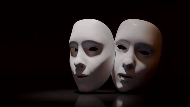 Theater masks on black background. Theater masks on black background. mask disguise stock videos & royalty-free footage