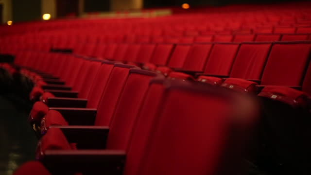 Theatre Red Seats Tracking Close Shot