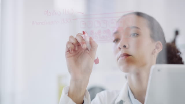 There's no formula she can't work out 4k video footage of an attractive young female scientist writing on a glass wall while working in a laboratory chemical formula stock videos & royalty-free footage
