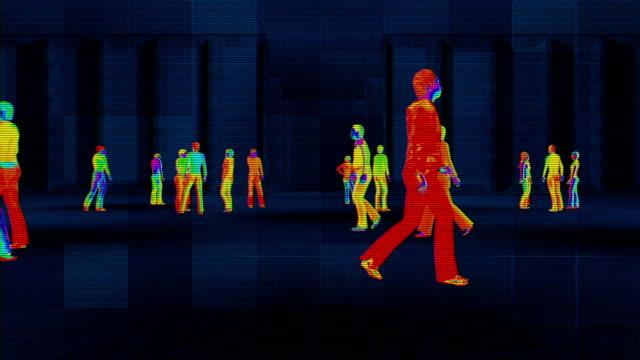 体温上昇を検知する熱画像カメラ - センサー点の映像素材/bロール
